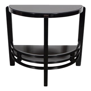 Art Deco Two-Tier Demilune End/Side Table in Black Lacquer with Vitrolite Top For Sale