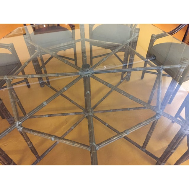 McGuire McGuire Octagonal Bamboo and Glass Dining Table and Matching McGuire Rattan Chairs -Set of 8 For Sale - Image 4 of 13