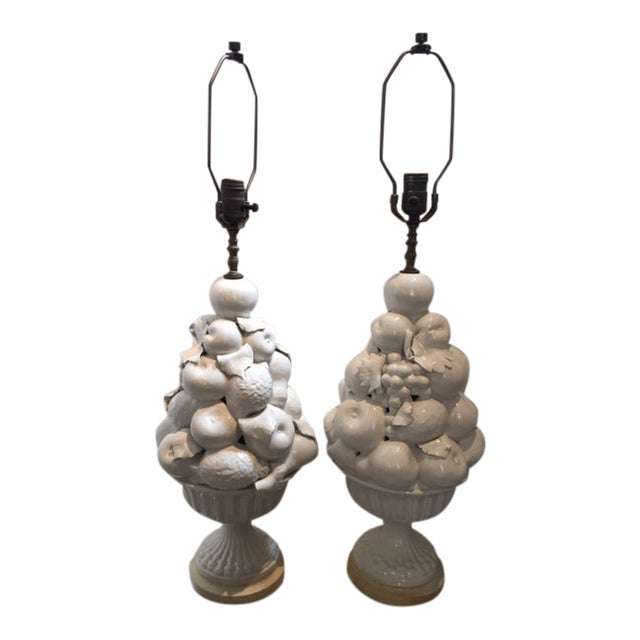 White Ceramic Vintage Italian Fruit Topiary Lamps - a Pair For Sale