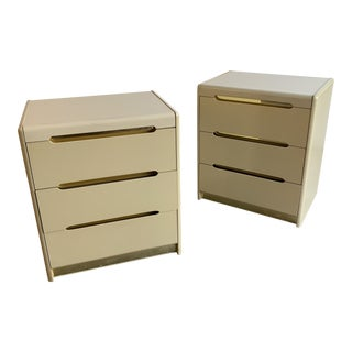 1980s Lane Lacquer and Brass Nighstands-a Pair For Sale
