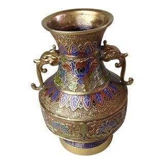 Vintage Japanese Dragon Handles Champleve Enamel Brass Vase For Sale