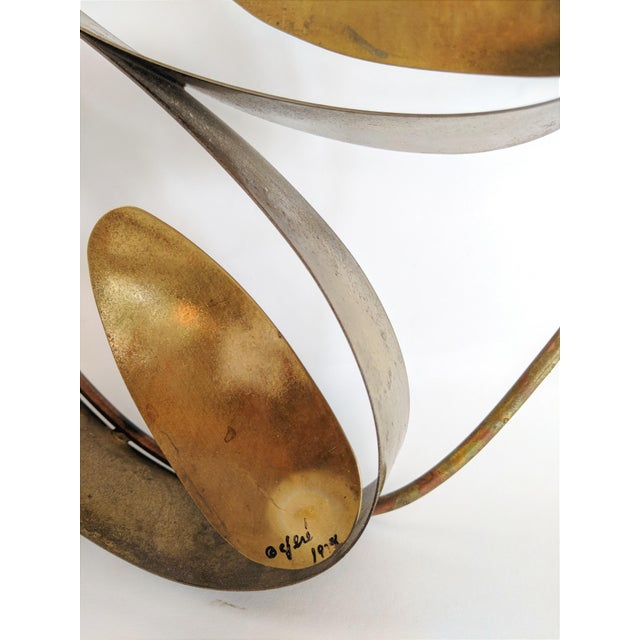 Curtis Here 1974 Mid-Century Modern Brass Butterfly Wall Sculpture For Sale - Image 9 of 13