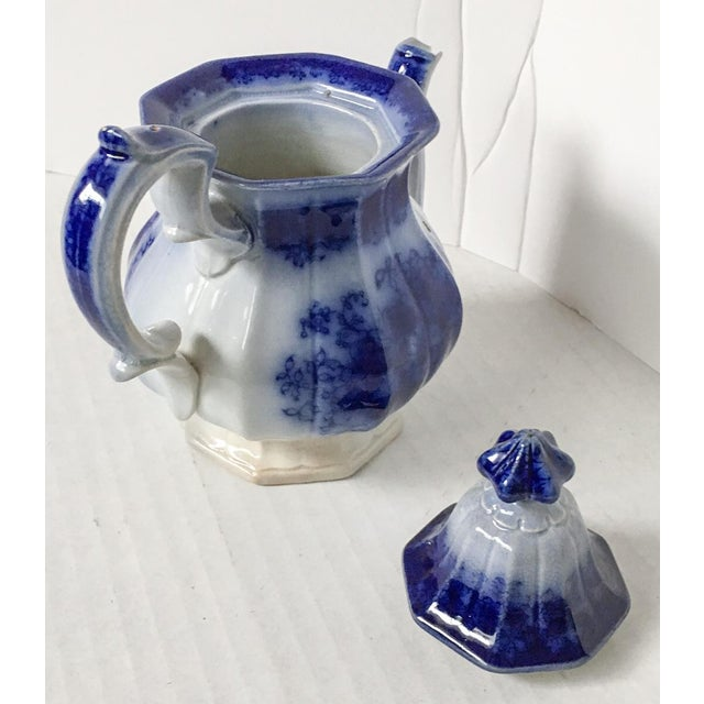 Child's Petite English Flow Blue Teapot with Lid - Image 6 of 7