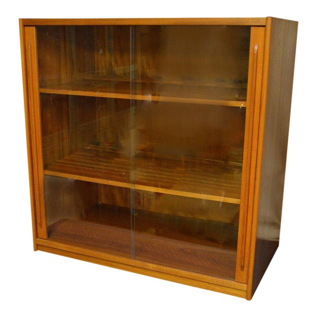 Storage Cabinet, Teak with Glass Doors, Wired for Electronics, Midcentury For Sale