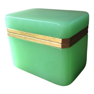 Antique French Green Glass Box Jewelry Casket For Sale
