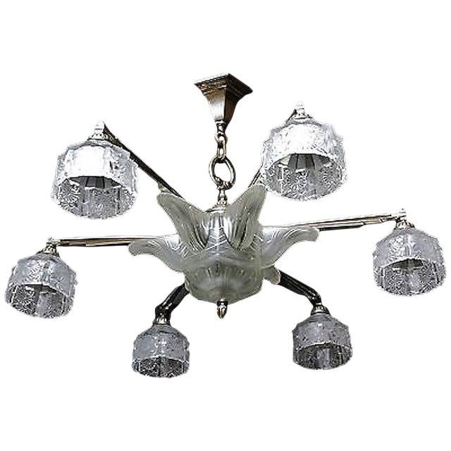 Verrerie Des Hanots Art Deco Chandelier For Sale