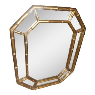 Vintage Mid-Century Hollywood Regency Faux Bamboo Gold Wall Mirror