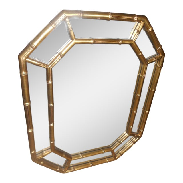 Vintage Mid-Century Hollywood Regency Faux Bamboo Gold Wall Mirror For Sale