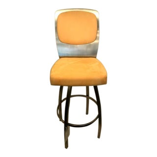 Contemporary Yellow Upholstered Brushed Steel Swivel Barstool For Sale
