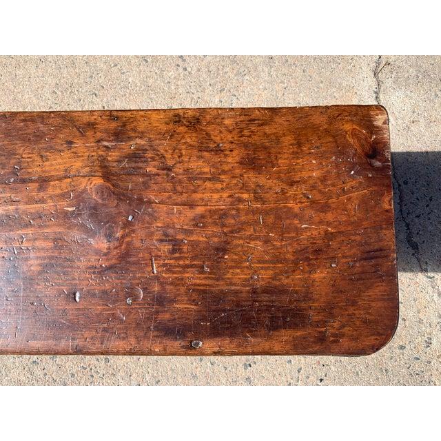 1920s 1920s Vintage Primitive Brown Pine Bench For Sale - Image 5 of 13