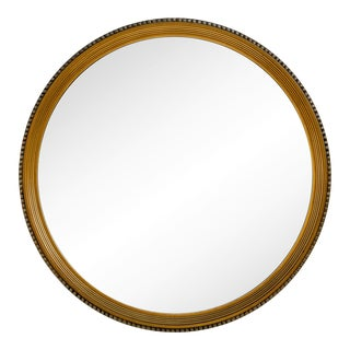 Large Giltwood Round Reeded Mirror For Sale
