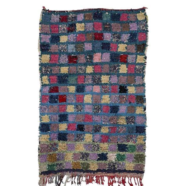 "Moroccan Boucherouite Carpet - 4'4""x2'8"" - Image 1 of 2"