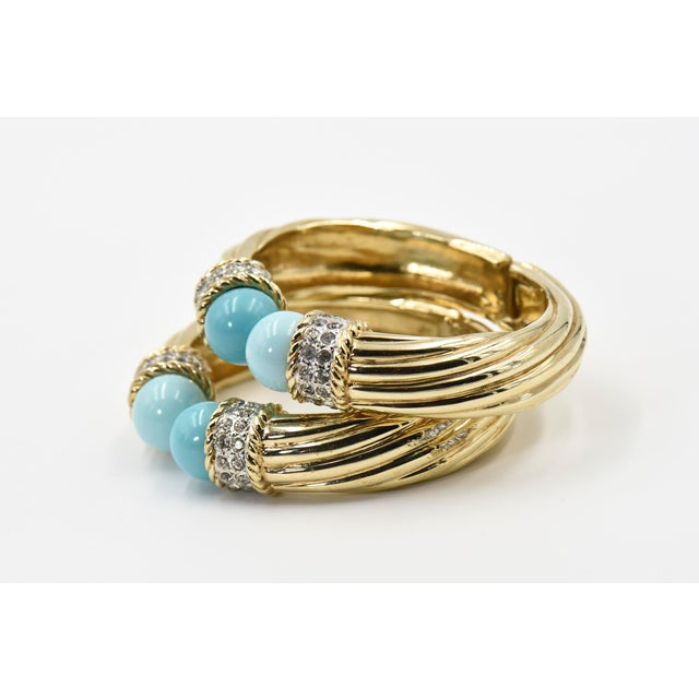 Mid 20th Century Italian Costume Turquoise Crystal Gold Plated Bangle Bracelets For Sale - Image 5 of 8