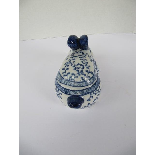 Blue & White Porcelain Rabbit Lided Box For Sale - Image 4 of 6