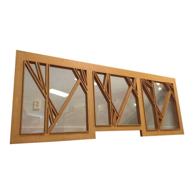 """White Oak and Glass Abstract Architectural Wall Sculpture Titled """"Third Window"""" For Sale"""