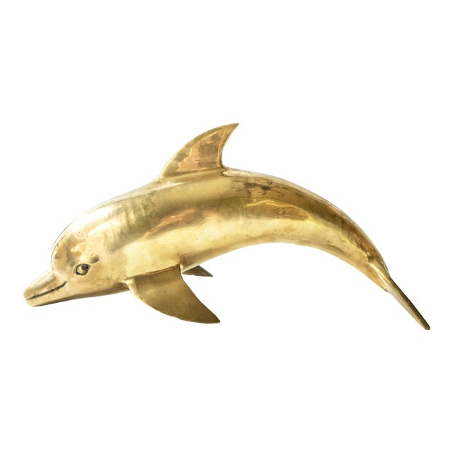 1960s Vintage Large Brass Dolphin Fish Sculpture For Sale