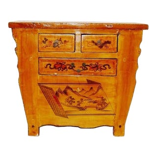 4-Drawer Hand Painted Chinese Cabinet For Sale