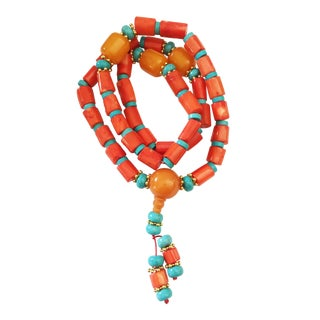 Nepalese Coral /Turquoise /Amber Prayer Beads For Sale