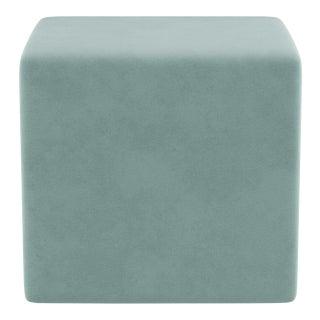 Cube Ottoman in Aqua Velvet For Sale