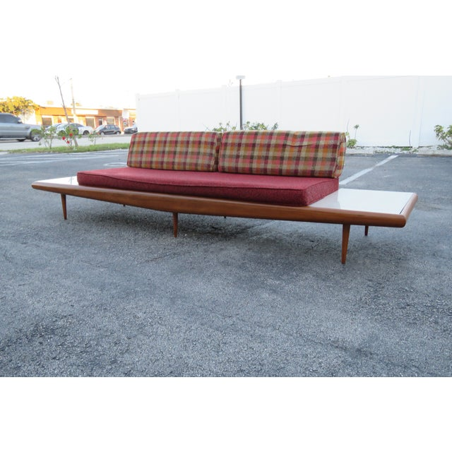 Mid-Century Modern Mid Century Modern Adrian Pearsall Sofa XL Travertine Marble End Tables For Sale - Image 3 of 13