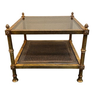 Gilt Finished Cane + Smoked Glass Side Table For Sale