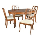 Image of Queen Anne Fruitwood Dining Set For Sale