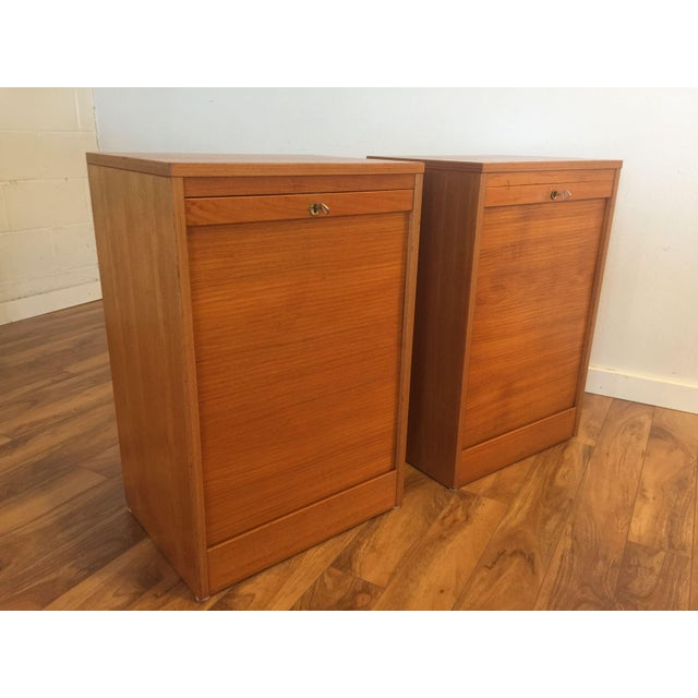 Danish Modern Teak Tambour Doors Filing Cabinets - A Pair For Sale In Seattle - Image 6 of 10