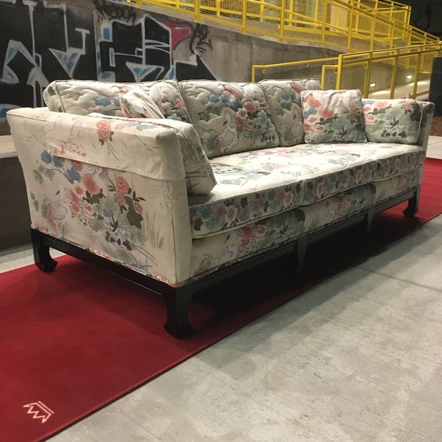 Manner of Michael Taylor for Baker Tufted Chinoiserie Sofa With Ming Legs For Sale - Image 10 of 13