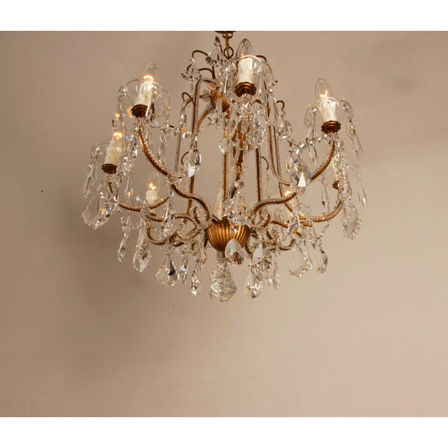 Banci 1970s Mid-Century Hollywood Regency Italian Design Crystal Beaded Chandelier For Sale - Image 4 of 13