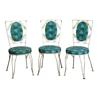Mid 20th Century Vintage Blue Floral Vintage Patio Chairs- Set of 3 For Sale