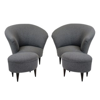 A Pair of Parisi Armchairs & Matching Foot Stools For Sale