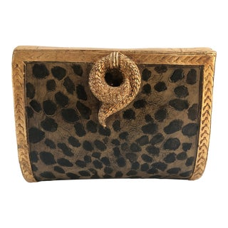 1980s Hollywood Glam Leopard & Snake Gilt Decorative Box Letter Holder For Sale