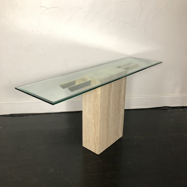1970s 1970s Italian Marble/Brass Artedi Console Table For Sale - Image 5 of 13
