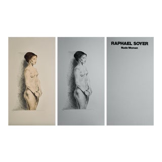 """Late 20th Century """"Nude Woman Portfolio"""" Figurative Lithograph Numbered 109/300 by Raphael Soyer - Set of 3 For Sale"""