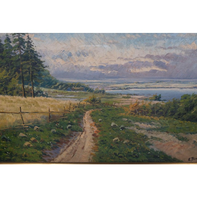 "A beautiful Mid-Century landscape of a perfect spring day along a dirt road. Signed E. Buth. Canvas Size: 34.75"" x 25.5"""