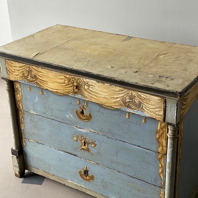 Wood 19th C. Swedish Painted Chest For Sale - Image 7 of 8