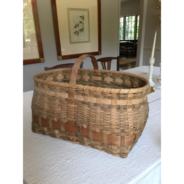 Antique Wicker Basket with Handle For Sale - Image 11 of 11