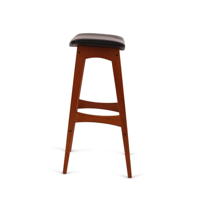 1960s Johannes Andersen Teak and Leather Barstools - Set of 4 For Sale In Phoenix - Image 6 of 8