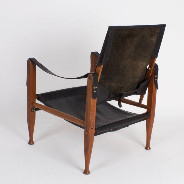 Mid 20th Century Safari Chair and Ottoman - A Pair For Sale - Image 5 of 9