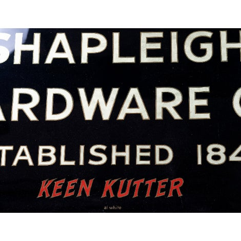 1900 Vintage Turn of the Century Gilded Reverse Painted Glass Trade Sign by Shapleigh Hardware Company For Sale - Image 4 of 7