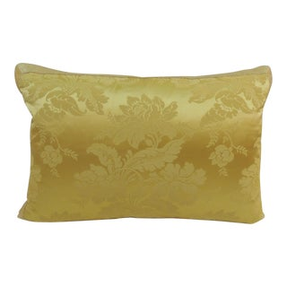 Antique French Yellow Silk Brocade Textile Decorative Pillow For Sale