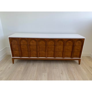Vintage Mid-Century Dresser With Burlwood Drawers Preview