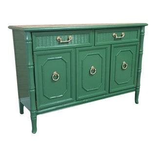 Vintage Faux Bamboo Broyhill Server Professional Lacquered Jade Green For Sale