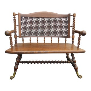 Antique Merklen Brothers Bench Settee Moorish Fretwork Panel Barley Twist W Ball Claw Feet For Sale