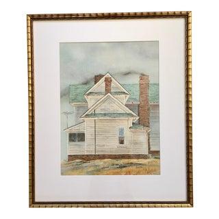 Vintage Farmhouse Watercolor For Sale