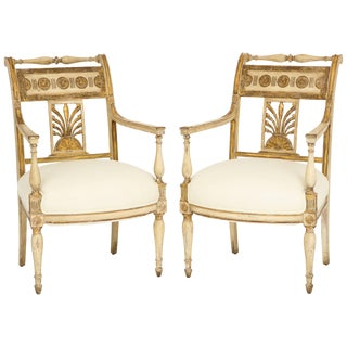 Pair of Italian Painted and Gilded Empire Period Armchairs For Sale