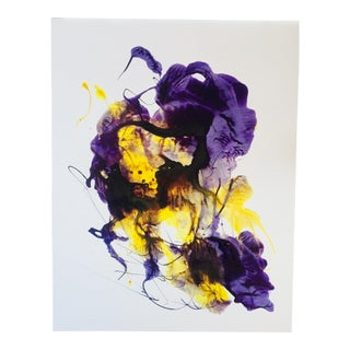 "Original Abstract Ink Painting on Paper by Erik Sulander ""Violet Explosion"" For Sale"