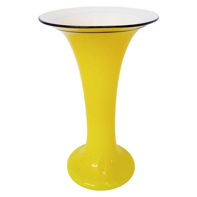 "Art Deco Yellow ""Tango"" Glass Vase For Sale - Image 3 of 3"