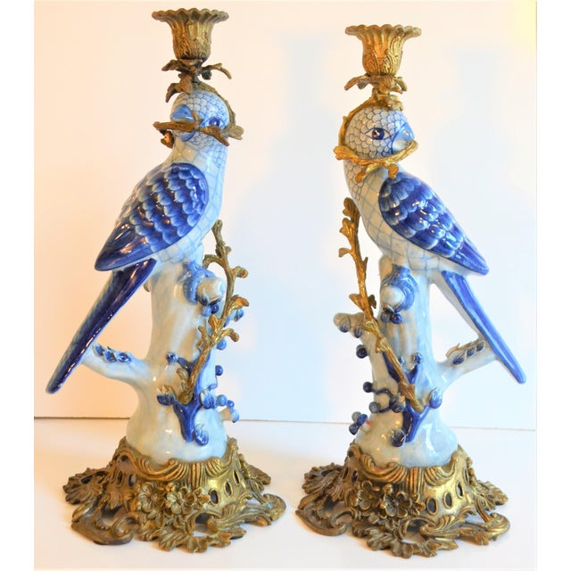 (Final Markdown Taken) 1980s Blue and White Porcelain Ormolu Parrot Candlesticks - a Pair For Sale - Image 4 of 10