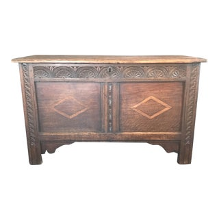 18th Century French Early Inlaid Coffer Chest For Sale